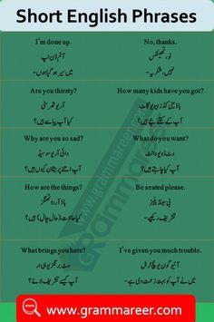Spoken English Sentences with Urdu and Hindi Translation English To Urdu Dictionary, English Grammar Book, English Grammar Worksheets, English Writing Skills, English Phrases, English Speaking Practice, English Language Learning, Learn English Words, Simple English Sentences