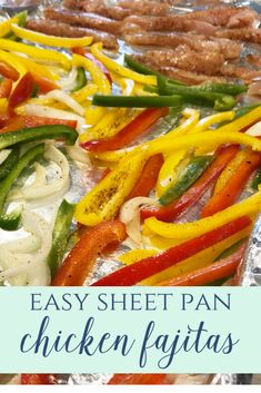 Sheet Pan Chicken Fajitas - Leah With Love- An easy dinner that is finished in under 20 minutes. Low carb and healthy!