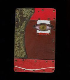 """Green Eye   Brooch in found metals, copper, and stainless steel. 2.75 x 1.75""""   Exhibit: Featured Artist: Judith Hoyt"""