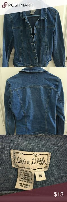 "Live a Little Denim Jean Jacket ""Live a little"" cute denim jeans jacket. It has buttons down the front and 2 pockets. Great for spring or fall day. No rips, stains or tears. Great condition.  Offers accepted. live a Little  Jackets & Coats Jean Jackets"