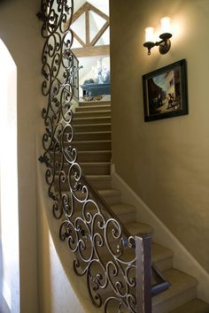 A custom railing in a transitional home. Very good addition by the interior designer. #stairs staircase