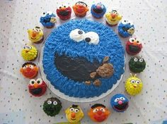 LOVE the Cookie cake and the character cupcakes!