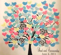 Guests sign the leaves & birds & it becomes wall art-great idea