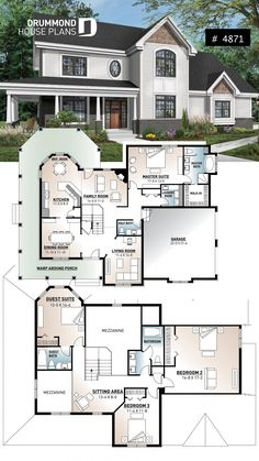 Beautiful traditional house plan with wraparound porch, 2 car-garage (side load). - Beautiful traditional house plan with wraparound porch, 2 car-garage (side load), 2 master suites, - Sims House Plans, Ranch House Plans, Craftsman House Plans, Dream House Plans, Modern House Plans, House Floor Plans, Floor Plans 2 Story, Craftsman Ranch, Layouts Casa