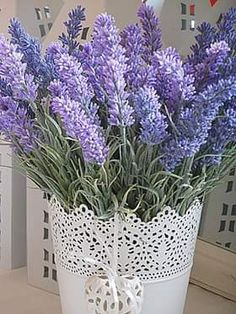Lavender in white tin container Lavender Decor, Lavender Cottage, French Lavender, Lavender Scent, Lavender Blue, Lavender Fields, Lavender Flowers, Pretty Flowers, Purple Flowers