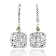 Simon Set Collection - These stunning 18K white and yellow simon-set earrings are comprised of 1.01ctw princess cut white Diamonds, .31ctw round white Diamonds, and .07ctw round yellow Diamonds. - ME1605