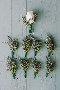 green boutonnieres // photo by Lev Kuperman // flowers by Adams Fairacre Farms