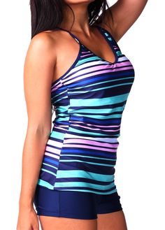 V Neck Criss Cross Back Striped Tankini on sale only US$27.70 now, buy cheap V Neck Criss Cross Back Striped Tankini at lulugal.com