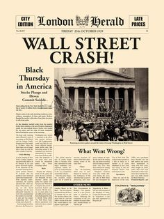 Newspaper Wall, Newspaper Front Pages, Vintage Newspaper, Newspaper Headlines, History Facts, World History, Wall Street, Finance, Dust Bowl