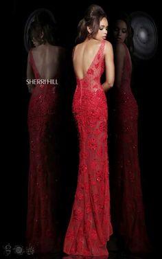Sherri Hill 11127 Red Formal DressOutlet