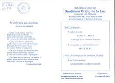Semana Santa 1985 Hoja editada por la Hermandad del Santísimo Cristo de la Luz (de los Espejos) con los cultos en honor a su titular