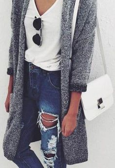 cardigan. tee. ripped vintage jeans.