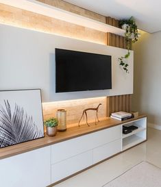 76 amazing tv wall design ideas for living room decor 64 Tv Stand Modern Design, Tv Stand Designs, Living Room Modern, Home Living Room, Living Room Decor, Cozy Living, Living Room Tv Unit Designs, Modern Tv Wall Units, Tv Wall Decor