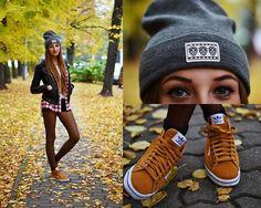 H&M Beanie, Adidas Sneakers, Zara Leather Jacket
