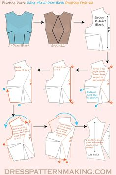 pattern fashion Using the Bodice Block, pivot the darts into the CF Neck and CF Waist; this style ends up with 2 pattern pieces. Corset Sewing Pattern, Dress Sewing Patterns, Clothing Patterns, Pattern Drafting, Bodice Pattern, Bra Pattern, Pattern Dress, Blouse Patterns, Fashion Sewing