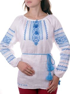 """UKRAINIAN WOMAN'S White LINEN/FLAX     PEASANT SLAVIC Blouse    """"VYSHYVANKA""""    NEW HANDMADE EMBROIDERED   SIZE S M L XL XXL 3XL 4XL   (you can order any size)      Fabric - Linen (White)    Technique - cross lace    Yarn - Cotton (blue)    Completely handmade    Classic women's long sleeve embroidery done on gray linen.    Combines elements of geometric and floral ornament, which embellished lace.    Very fine work done in the classic cross blue colors.    Brand new never used…"""