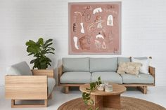 Be seated in comfort and style with solid timber construction that's designed to last. Interior Inspiration, Love Seat, Living Spaces, Armchair, Interior Decorating, Cushions, Lounge, Throw Pillows, Table