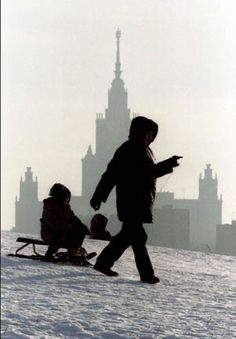 Snowy Russia. I remember all the babies in sleds being pulled down the street just like this.