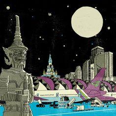 Bangkok, illustration by Cliff Mills