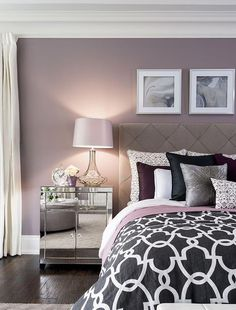Bedroom wall designs images bedroom decor no place like home bedroom decor home purple bedrooms bedroom Bedroom Wall Colors, Home Decor Bedroom, Modern Bedroom, Design Bedroom, Bedroom Interiors, Diy Bedroom, Bedroom Ideas Purple, Trendy Bedroom, Bedroom Ideas For Couples Master