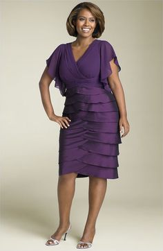 Adrianna Papell Flutter Sleeve Tiered Dress. Size 14W- 24W. $198 via Nordstrom.