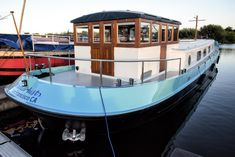 After months of waiting Wanderlust finally floats in 14 feet of water in berth at Thames & Kennet Marina. The busy marina is located just outside of the London commuter suburb of Reading o… Dutch Barge, Outside Paint, Canal Boat, River Thames, Boat Building, One Day, Paint Designs, Wanderlust, London