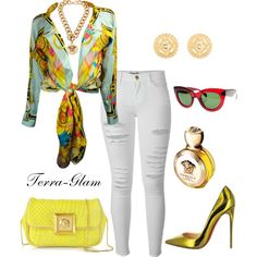 Versace Vixen by terra-glam on Polyvore featuring Frame Denim, CÉLINE and Versace