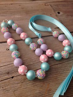 Pastel Chunky Necklace, Girls Bubblegum Necklace, Birthday Outfit, Easter…