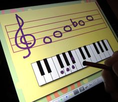 Multitouch Whiteboard app with custom background for piano teachers