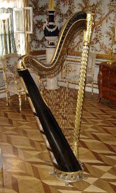 Arpa.  Cordófono punteado, cuya denominación ha alcanzado un valor genérico a través de los siglos