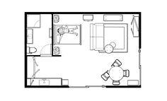 Blue Studio layout Studio Layout, Holiday Accommodation, The Unit, Blue