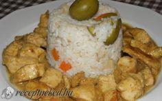 Szószos csirkemell falatok zöldséges rizzsel recept fotóval