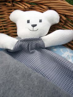 Grey and Cream Teddy Taggie Comforter for Babies and by Debsla, $14.95