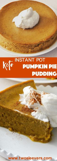 Perfect, crustless pumpkin pie pudding makes a lovely low carb pumpkin dessert in your Instant Pot or Pressure cooker. This is an easy low carb, keto, dump and go dessert |Pumpkin pie| keto Pumpkin pie| Low carb pumpkin pie|twosleevers via @twosleevers