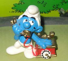 Smurfs Telephone Thick Cradle Smurf RARE Vintage China 20062 Peyo Figure Toy | eBay