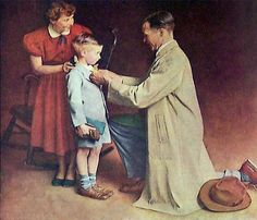 """His First Day At School"""" painted by Norman Rockwell for insurance company ad."""