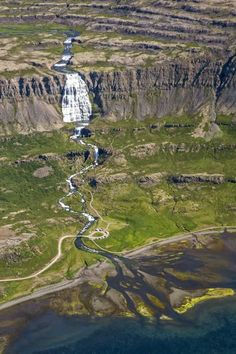 Aerial View of Dynjandi Waterfall in Iceland