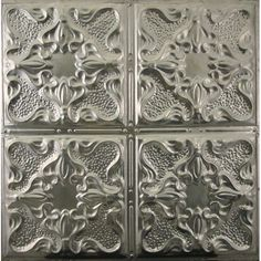 metal ceiling tiles (24x24) $7.00 http://www.metalceilingexpress.com/metal-ceiling-tiles/pattern-105-vintage-gothic-12-inch-repeat?gclid=CNzguMCHib4CFYtDMgodo1QAbQ