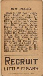 1912 Brown Backgrounds T207 #40 Bert Daniels Back