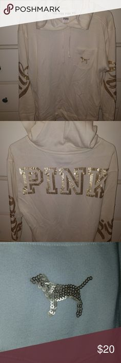 Pink hooded sweatshirt Beige hooded sweater with gold lettering Lightly worn..in great condition. [No trades] add it to a bundle today for 15% off PINK Victoria's Secret Tops Sweatshirts & Hoodies