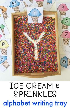 Ice Cream & Sprinkles Alphabet Writing Practice- Ice Cream & Sprinkles Alphabet Writing Practice Free printable ice cream alphabet cards for this super simple writing tray filled with sprinkles! Practice pre-writing and fine motor skills. Preschool Writing, Preschool Letters, Letter Activities, Kindergarten Literacy, Preschool Classroom, Preschool Learning, Learning Activities, Teaching, Daycare Curriculum