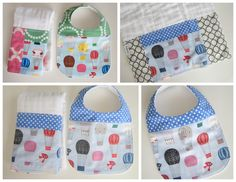 Baby Bibs - Dribble Bib - Hot Air Balloons / Flannel Teething Bib / Custom Baby Gifts. $12.00, via Etsy.
