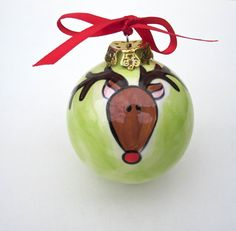 hand painted personalized ceramic reindeer christmas ornaments on Etsy, $24.00