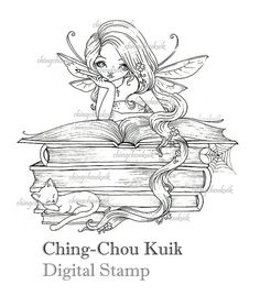 Lil Bookworm Fairy  Digital Stamp design by Ching-Chou Kuik.  approx size 5.5 x 5.4 , as a printable 300 dpi JPEG file.      To download a digital item