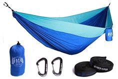 Premium Outdoor Hammock  Large Double Size Portable  Ultra Light FREE 10 Tree Straps  Wiregate Carabiners Included Ripstop Parachute Nylon for Hiking Camping Travel Beach  Backpacking -- Be sure to check out this awesome product.