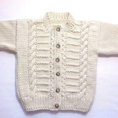 Toddler Aran cardigan 12 to 24 months Aran baby sweater Baby Knitting Patterns, Baby Sweater Patterns, Baby Cardigan Knitting Pattern, Knitting For Kids, Knitting Designs, Baby Patterns, Hand Knitting, Baby Blue Sweater, Baby Sweaters