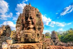 Bayon is most famous for its giant carved stone faces, and bas-reliefs showing everyday life in the 12th Century