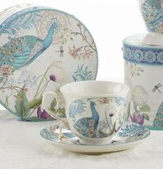 Gift Boxed Tea Cup (Teacup) & Saucer - Peacock - Roses And Teacups