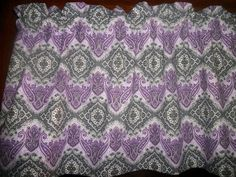 Charcoal Gray Purple Lavender Paisley Damask fabric topper curtain Valance #Handmade