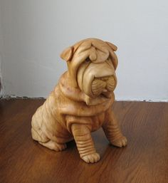 Shar Pei Dog  Wooden figurine hand carving by WoodSculptureLodge